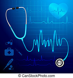 Stethoscope heartbeat background - Medical health service...