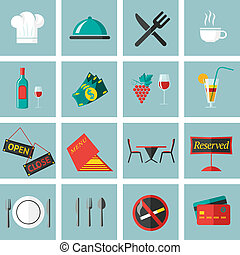 Restaurant Food Icons Set - Restaurant food cooking and...