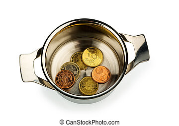 pot of money - a few euro coins in a saucepan, symbol photo...