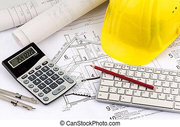 casa, plan, cascos, construcción, trabajador