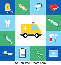 Set of medical flat icons including an ambulance transport...