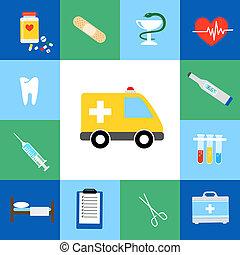 Set of medical flat icons including an ambulance transport...