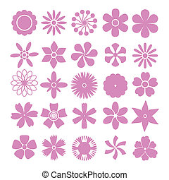 Vector set of flowers - Set of vector flowers simple shapes...