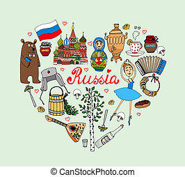I Love Russia vector heart illustration with cultural icons...