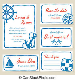 Nautical style wedding invitation and cards - Nautical...