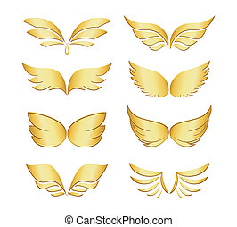 golden wings - Set of eight different pairs of golden wings...
