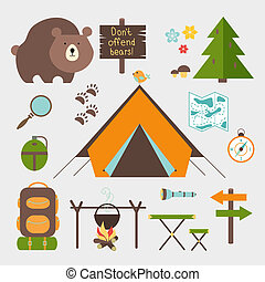 Vector icons forest camping set with a pine or fir tree bear...
