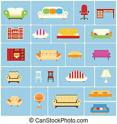 Set of furniture icons depicting a different couch settee...