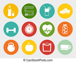Fitness Flat Icons - Vector fitness flat Icons, healthy...