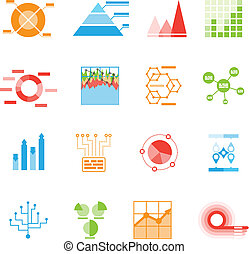 Graphs and charts icons or infographic elements with sixteen...