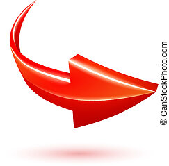 Curved red 3d vector arrow with increasing perspective from...