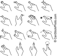 Set of gestures icons for touch devices - Line drawing...