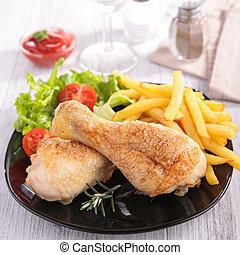 grilled chicken and french fries