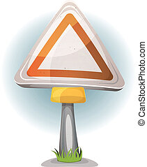 Cartoon Blank Road Sign