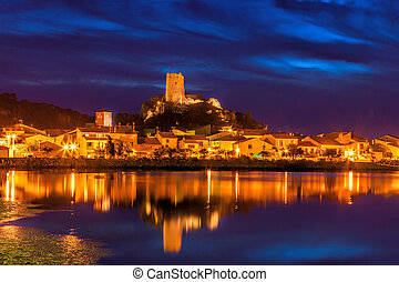Medieval village of Gruissan by Night - View of the...