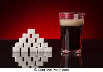 sugar and coke unhealthy drink - soda with bubbles in a...