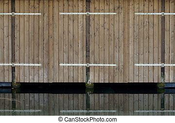Garage door - The photograph of the garage door of a boat...
