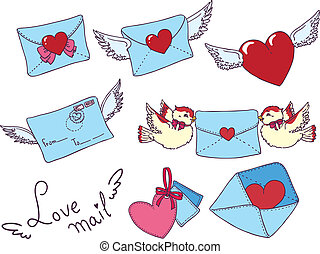 Set vector e-mail, envelop icons with heart .For Valentine...