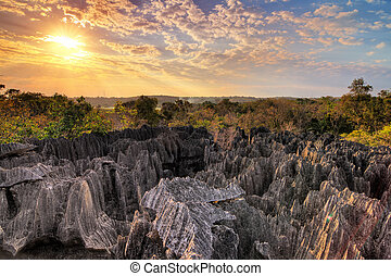 Tsingy sunset - Beautiful view over national park Tsingy de...