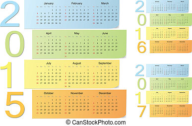 European 2015, 2016, 2017 color vector calendars with...