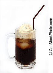 Root beer float isolated on white background