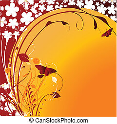 Cheerful butterflies against the stylised sun - Flying...