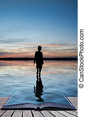 Book concept Conceptual image of young boy walking on water...