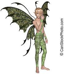 Fairy Boy in Green, Standing - Fairy boy dressed in green...
