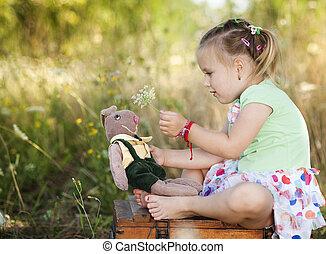Cute little girl - Summer outdoor portrait of cute little...
