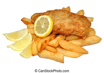 Traditional Fish And Chips - A portion of fish and chips...