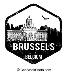 Brussels stamp - Brussels grunge rubber stamp on white,...