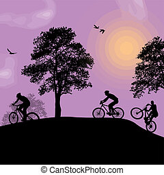 Beautiful landscape and cyclists silhouettes - Vector design...