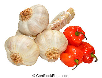 Garlic And Scotch Bonnet Peppers - A bunch of garlic bulbs...