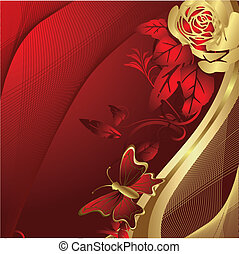 Rose and butterfly silhouette - Gold roses on a red...