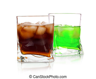 two Cocktail Isolated on White