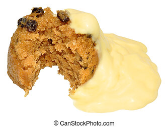 Spotted Dick Sponge Pudding With Custard, isolated on a...