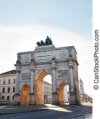 Siegestor Victory Gate in Munich, Bavaria, Germany - The...