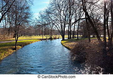 English Garden of Munich in Bavaria in the autumn - Historic...