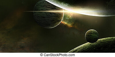 Planets on a starry background
