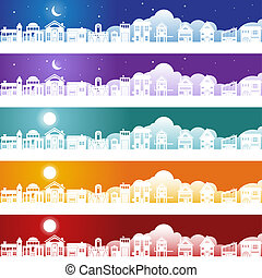 Building Banner - Set of building and structure banners with...