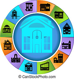 Building Wheel - Set of colorful building themed icons on a...