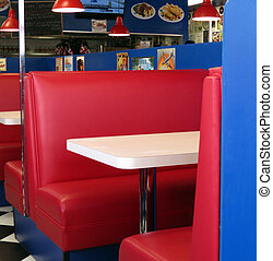 Retro Diner Booths - These red leather booths at the diner...