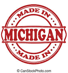 Made in Michigan - Stamp with text made in Michigan inside,...