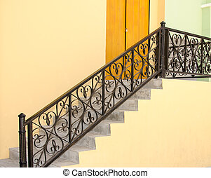 steel stairs - Stairs, steel and cement walls yellow.