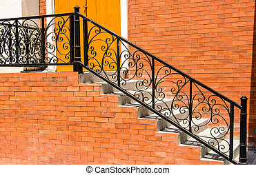 steel stairs - Stairs, steel and cement brick wall.