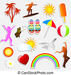 Summer stickers - Various different summer themed stickers