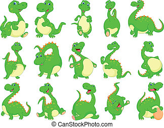 various dinosaur cartoon