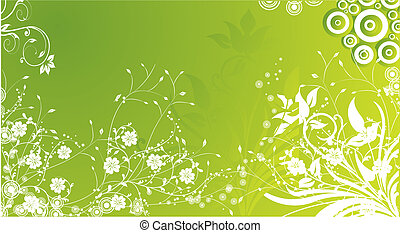 White flower ornament on a green background