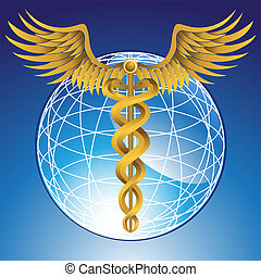Caduceus Globe Gold - Shiny wireframe globe in a vibrant...