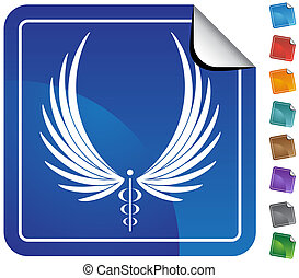 Caduceus Minimal Sticker - Minimal caduceus sticker on icon...